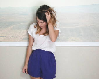 high waisted pocketed shorts, small, purple