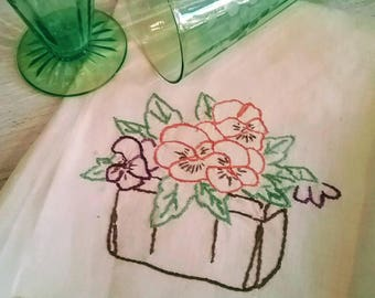 Hand embroidered pansy linen