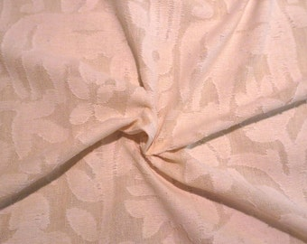 SPECIAL--Natural Ivory Figural Design Clipped Jacquard Pure Cotton Fabric--BY THE Yard