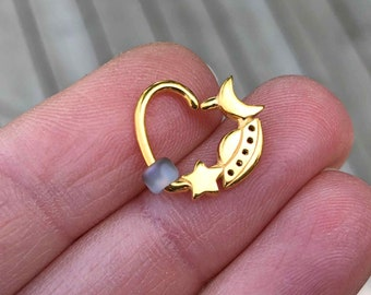 Star Moon Spaceship Gold Daith Earring Rook Piercing Hoop