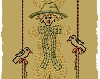 Primitive Machine Embroidery Design-Raffia Scarecrow--Version2--(4X4)-INSTANT DOWNLOAD