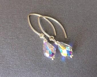 Crystal AB Sterling Earrings, Bridesmaid Earrings, Delicate New Sterling Silver Wires