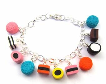 Faux Liquorice Allsorts Sweets Clay Bracelet