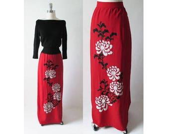Vintage 70's Alfred Shaheen Red Linen Bold White Flower Full Length Skirt M
