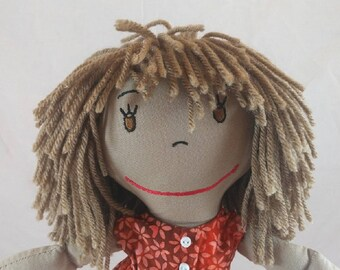 Custom Cloth Rag Doll, African-American Rag Dolls, Embroidered Face, Personalized Rag Dolls, Shower gift, Fabric Doll, Stuffed Doll