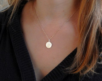 Silver round hammered disc necklace, monogram initial disc necklace, personalized, sterling silver, birthday gift for her, 310