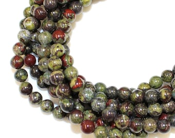 10mm Dragon's Blood Jasper for Jewellery Making and Malas on a 16 Inch Strand, Approx 40 Beads