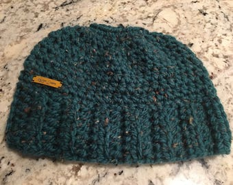 Dark Teal Tweed Messy Bun Beanie