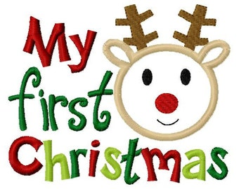 My first Christmas Reindeer Boy Applique Machine Embroidery Design 4x4 and 5x7