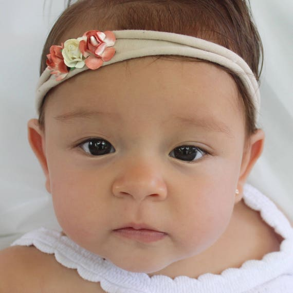 Flowers Headband, Nude Headband, Birthday Headband, Baby Headband, Infant Headbands, Coral Headband, Flower Headband Baby, Baby Headpiece