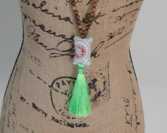 SALE Green silky tassel necklace with Hmong pillow, bohemian style, beach boho, summer fashion, long layering necklace, neon green