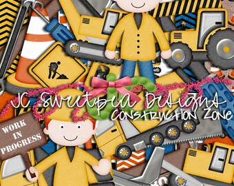 Construction Zone Digital Scrapbooking Kit