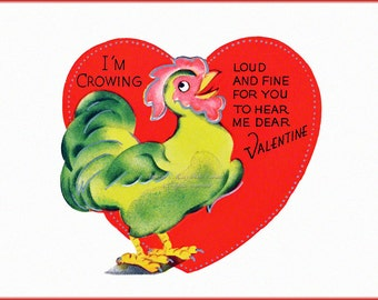 Valentines Day Card - Rooster Crows - Repro Chicken Valentine Card