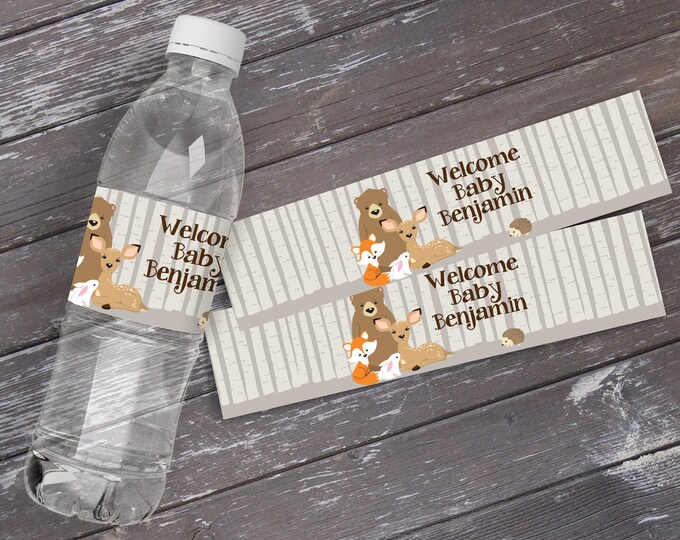 Woodland Water Bottle Labels - Baby Shower, Woodland Animals, Forest Friends, Self-Editing | DIY Editable Text INSTANT DOWNLOAD Printable