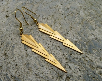 Geometric Brass Earrings - Arrow Earrings - Art Deco // Dangle Drop Earrings // Silver // Antique Brass // Copper