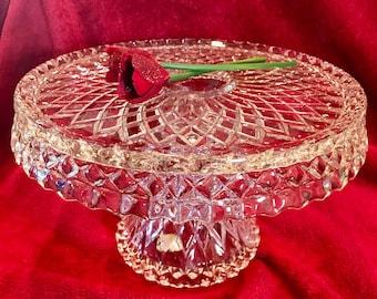 Vintage glass cake pedestal