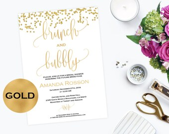 Brunch and Bubbly Bridal Shower Invitations Bubbly Brunch