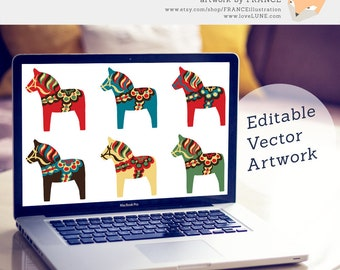 Vector Dala Horse Clipart. Editable Dalecarlian Clip Art Illustration. Traditional Red, Blue, Green. Illustrator, EPS + PDF. Pony. Recolor.