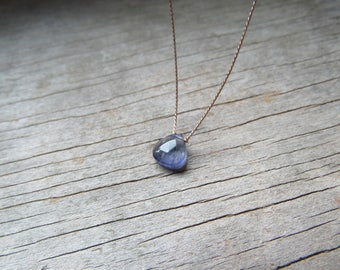 small IOLITE floating stone necklace on a fine silk cord hand knotted gemstone briolette September birthstone water sapphire minimali