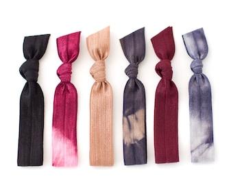 The Burgundy Tie Dye Hair Tie Package - 6 Dark Fall Colored Elastic Tie Dye Hair Ties that Double as Bracelets by Mane Message on Etsy