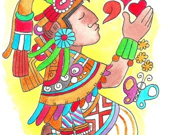 """8.5"""" by 11"""" Watercolor Illustration Reproduction: Amor Quetzal"""