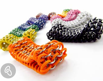 Stretchy Chainmaille Bracelet - Four in One Pattern Cuff - Pick Your Color