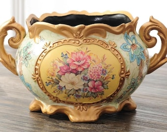 Vintage Collection - Gold Rimmed Wide Mouth Ceramic Vase with Handles