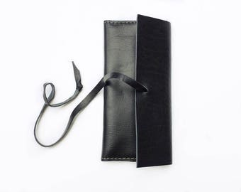 artisan-made leather wrap wallet