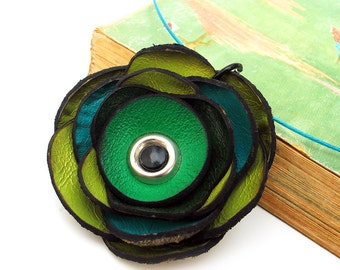 Green Blue Poppy Flower Leather Necklace Jewelry for Women Eco Friendly Reclaimed Leather OOAK