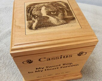 Large Dog Urn - Pet Urn Laser Engraved Alder Wood