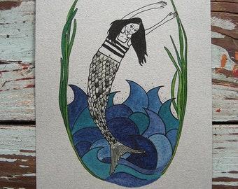 Mermaid Watercolor Print - Pati