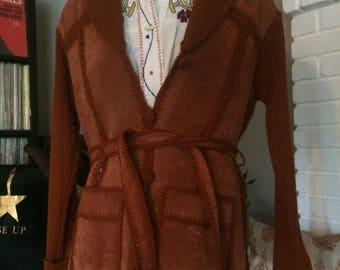 Vintage suede patchwork 70s Cardigan