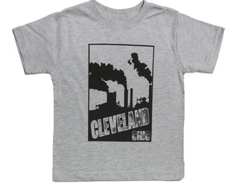 Youth and Toddler Tee - 'Cleveland Smokestacks' on Heather Grey