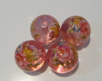 4 Pink gloss mix floral Japanese tensha acrylic beads