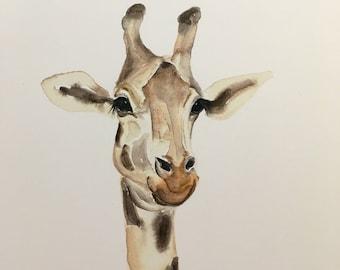 Giraffe portrait original Watercolor PRINT