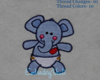 Baby Elephant Embroidery design, Multiple Formats
