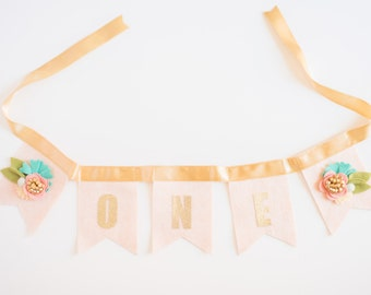 Floral Bunting // Smash Cake // Photo Prop // Baby Girl Birthday // Highchair Bunting