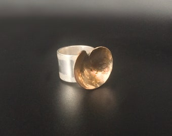 Sterling & 14K Goldfill Abstract Heart Ring