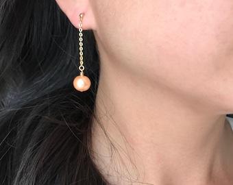 Peach pearl drop earrings