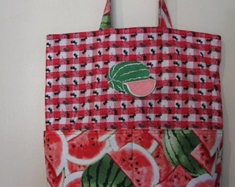 Pink Watermelon and Ants Picnic Summer Tote, Eco Friendly, Purse, Bag Embroidered