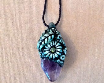 Polymer Clay, Amethyst, Cubic Zirconia, and Hemp Necklace - Nature - Fairy - Boho