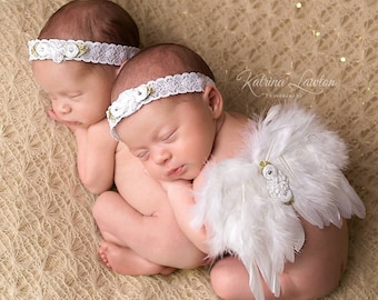 White Angel Feather Wings with Stretch Lace Elastic Headband, for newborns, photo shoots, photographers, Lil Miss Sweet Pea