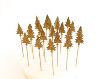 24 Gold Glitter Pine Tree Cupcake Toppers - Food Picks -Party Picks