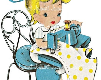 Girl with Sewing Machine - Quilting Girl Retro - Sew Quilt Machine - Digital Download Vintage Image Collage Large JPG and PNG Clipart
