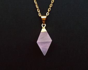 Rose Quartz Diamond Necklace, Gold Rose Quartz Crystal Necklace