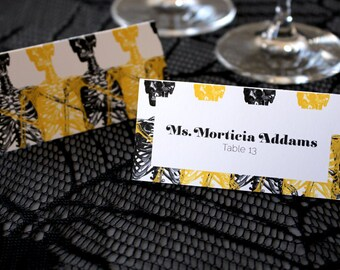 FULL SERVICE Halloween Escort Cards Skeleton Gothic Spooky Wedding Place Cards - Elegant Serif Font