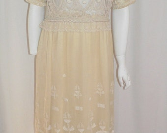 1915 Edwardian Lace And  Embroidered  Dress  Arts and Craft  Art  Deco Embroidery