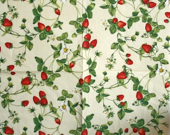 Napkins for decoupage Decoupage napkins Decoupage paper Collage paper Berries  napkins strawberry
