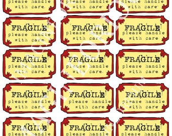 Fragile stickers, packaging, marketing, mailing, stickers, fragile, Printable, instant download, diy, red, yellow, handle with care, postage