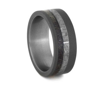 Meteorite Wedding Band, Dinosaur Bone Ring, Titanium Ring With Sandblasted Finish, Manly Ring